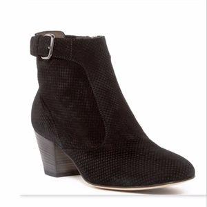 NIB AQUATALIA Black Suede Block Heel Booties 7.5